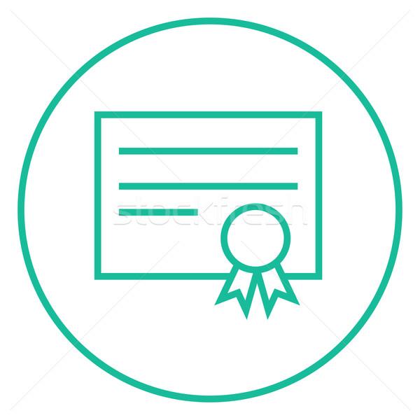 Certificato line icona angoli web mobile Foto d'archivio © RAStudio