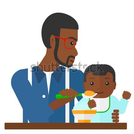 Férfi etetés baba vektor terv illusztráció Stock fotó © RAStudio
