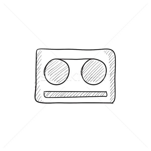 Kaseta taśmy szkic ikona wektora odizolowany Zdjęcia stock © RAStudio