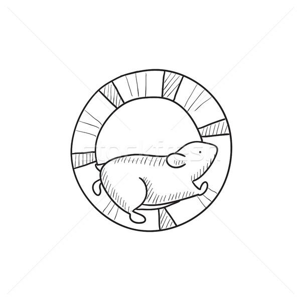 Hamster çalışma tekerlek kroki ikon vektör Stok fotoğraf © RAStudio