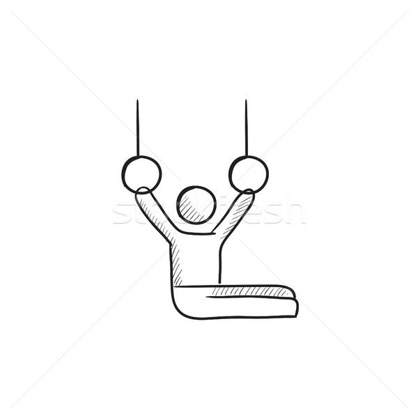 Jimnastikçi halkalar kroki ikon Stok fotoğraf © RAStudio
