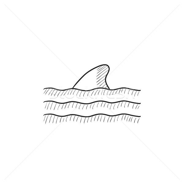 Dorsal shark fin above water sketch icon. Stock photo © RAStudio