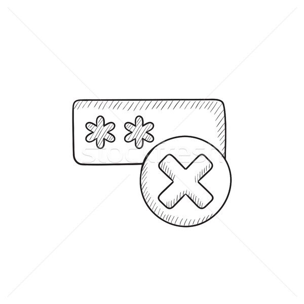 Wrong password  sketch icon. Stock photo © RAStudio