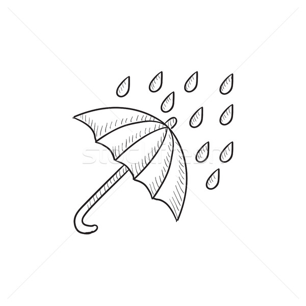 Rain and umbrella sketch icon. Stock photo © RAStudio