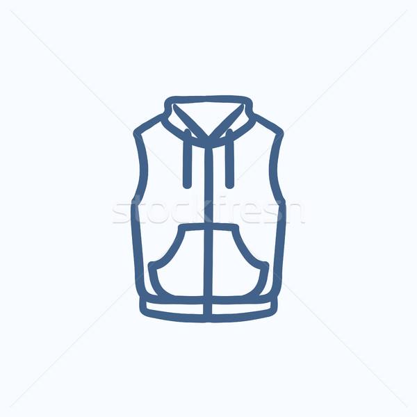 Mellény lefelé kabát rajz ikon vektor Stock fotó © RAStudio