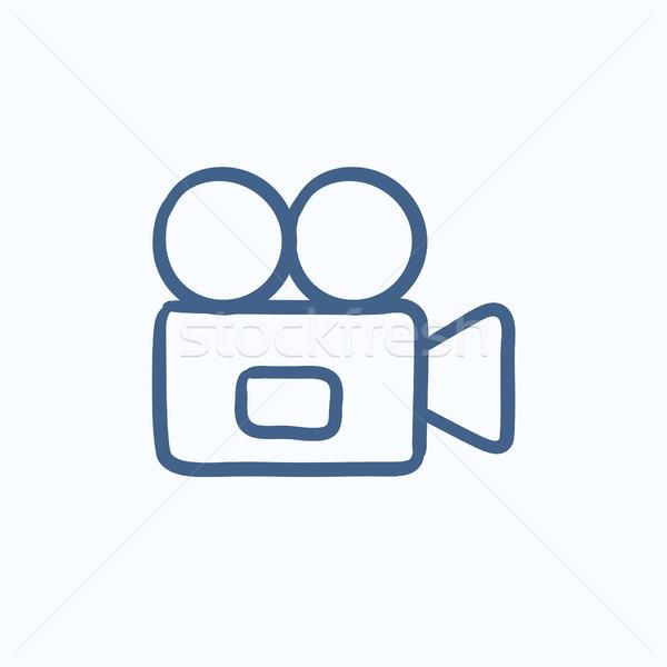 Videókamera rajz ikon vektor izolált kézzel rajzolt Stock fotó © RAStudio