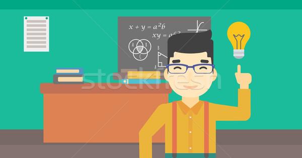 Student pointing at light bulb vector illustration Stock photo © RAStudio