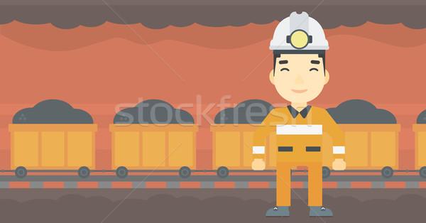 Confident miner in hardhat vector illustration. Stock photo © RAStudio