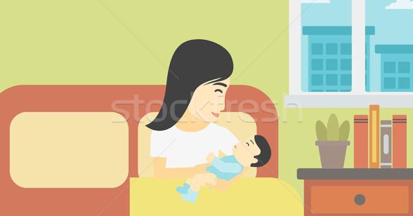 Nő új született kismama ázsiai anya Stock fotó © RAStudio