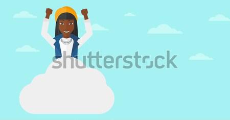 женщину сидят облаке азиатских счастливым поднятыми руками Сток-фото © RAStudio