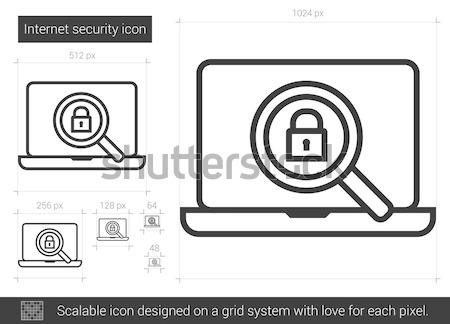Internet güvenlik hat ikon vektör yalıtılmış Stok fotoğraf © RAStudio