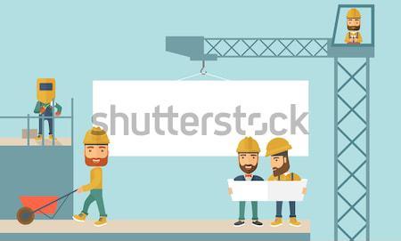 Experiente equipe trabalhadores laranja conselho Foto stock © RAStudio