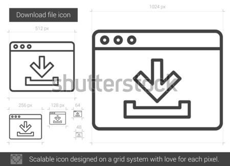Halom letöltés vonal ikon vektor izolált Stock fotó © RAStudio