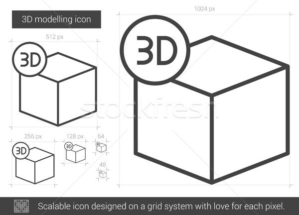 Three D modelling line icon. Stock photo © RAStudio