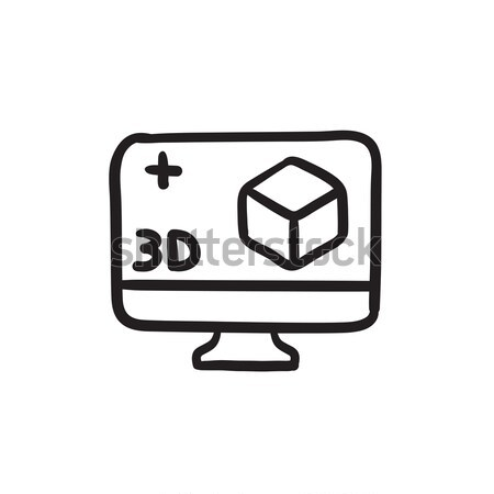 Computer monitor with 3D box sketch icon. Stock photo © RAStudio