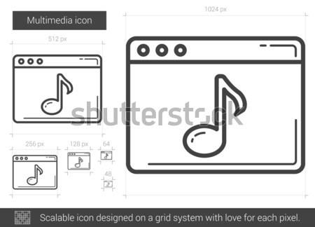 Multimedia lijn icon vector geïsoleerd witte Stockfoto © RAStudio