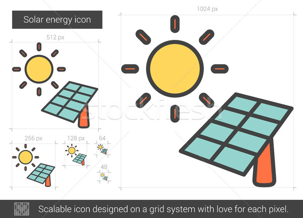 Energia solar linha ícone vetor isolado branco Foto stock © RAStudio