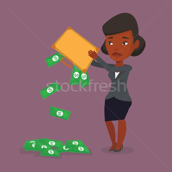 Fuera dinero maletín deprimido mujer de negocios Foto stock © RAStudio