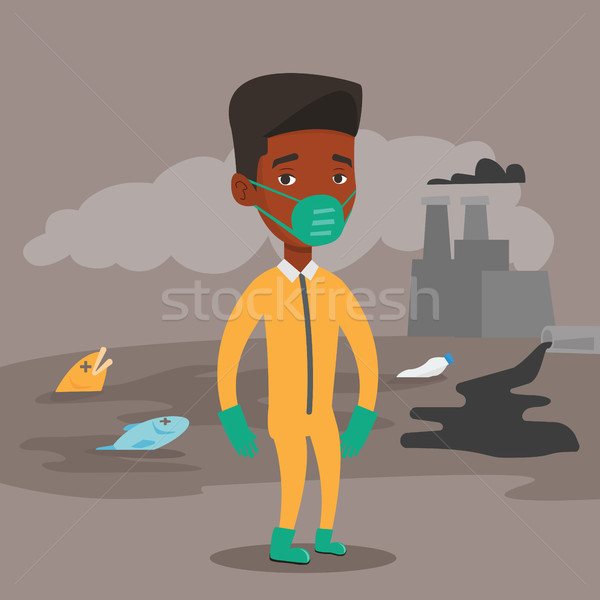 Homem radiação terno africano máscara de gás em pé Foto stock © RAStudio