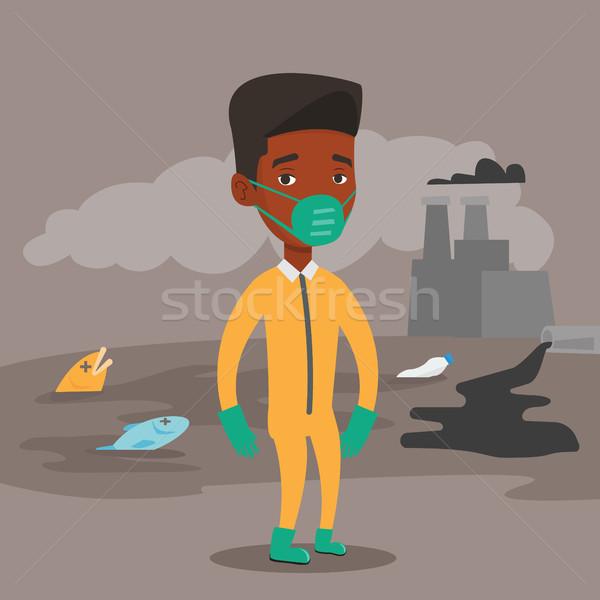 Mann Strahlung Anzug african Gasmaske stehen Stock foto © RAStudio
