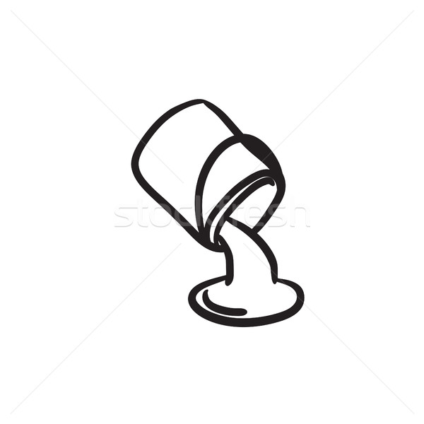 Paint pouring from bucket sketch icon. Stock photo © RAStudio