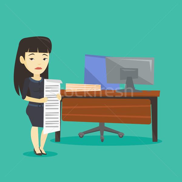 Teleurgesteld zakenvrouw lang Bill asian Stockfoto © RAStudio