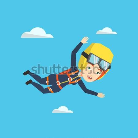 Kaukasisch springen parachute vallen lucht jonge vrouw Stockfoto © RAStudio