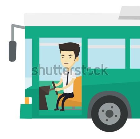 Afryki autobus kierowcy posiedzenia kierownica młodych Zdjęcia stock © RAStudio