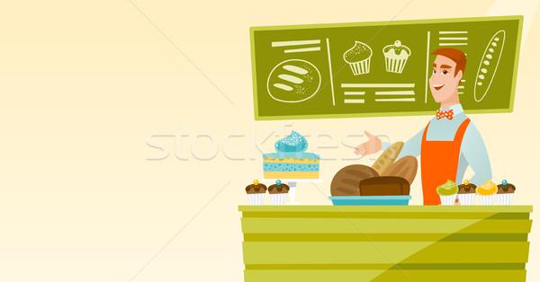 Trabajador pie detrás contra panadería caucásico Foto stock © RAStudio