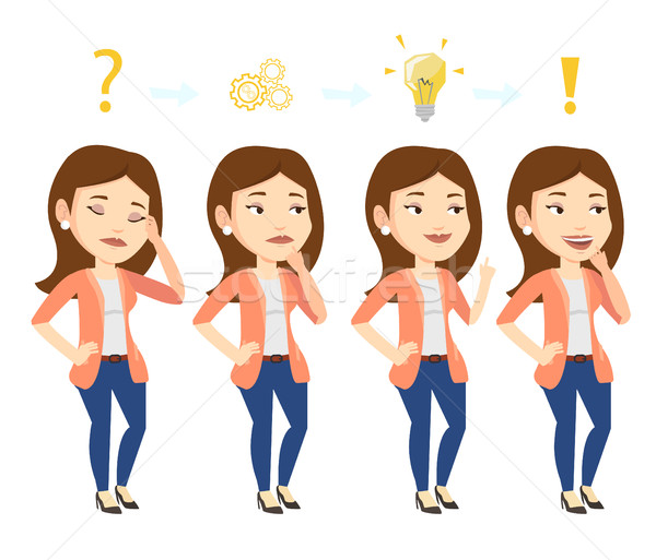 Photo stock: Femme · d'affaires · idée · jeunes · femme · d'affaires · affaires · planification
