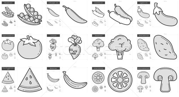 Healthy food line icon set. Stock photo © RAStudio