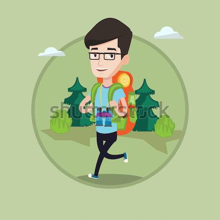 Man with backpack hiking vector illustration. Stock photo © RAStudio