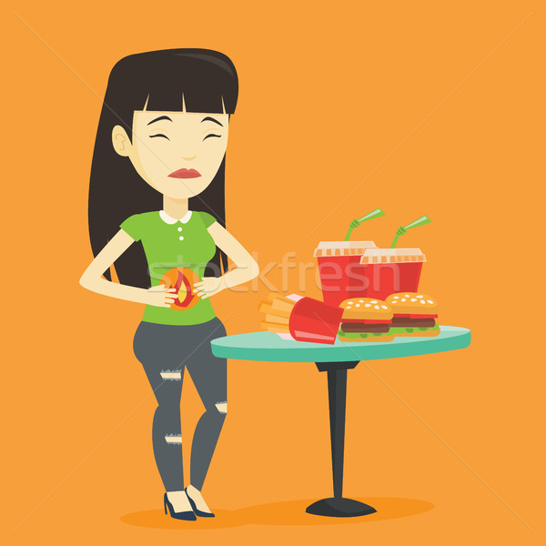 Woman suffering from heartburn vector illustration Stock photo © RAStudio