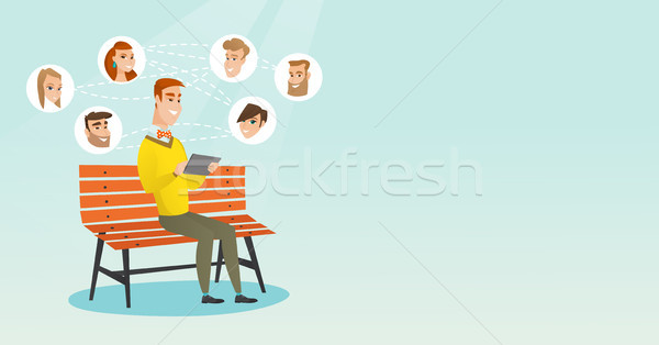 Man surfing in the social network. Stock photo © RAStudio