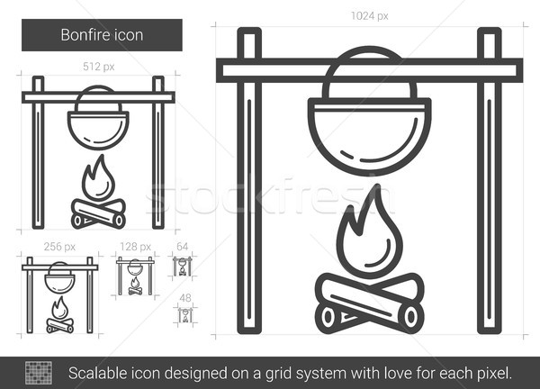 Bonfire line icon. Stock photo © RAStudio