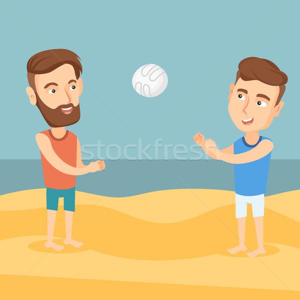 Két férfi játszik tengerpart röplabda hipszter férfi Stock fotó © RAStudio