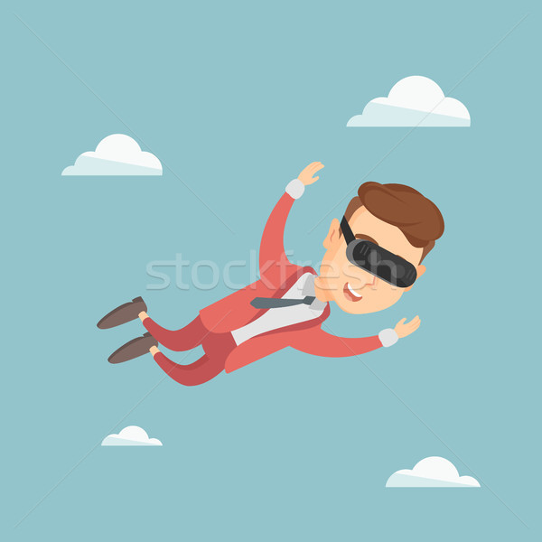 Businessman in vr headset flying in the sky. Stock photo © RAStudio