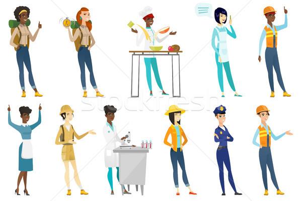 Professional women vector illustrations set. Stock photo © RAStudio