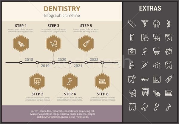 Stomatologia szablon elementy ikona timeline Zdjęcia stock © RAStudio