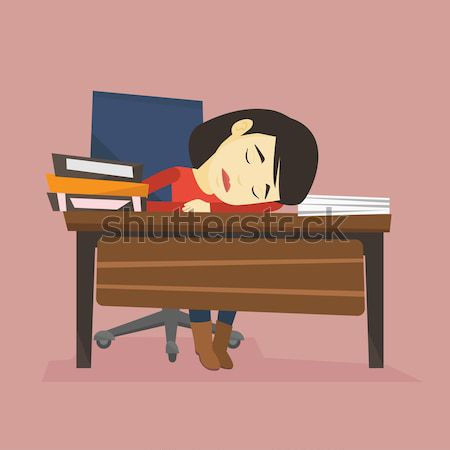 Female student sleeping at the desk with book. Stock photo © RAStudio