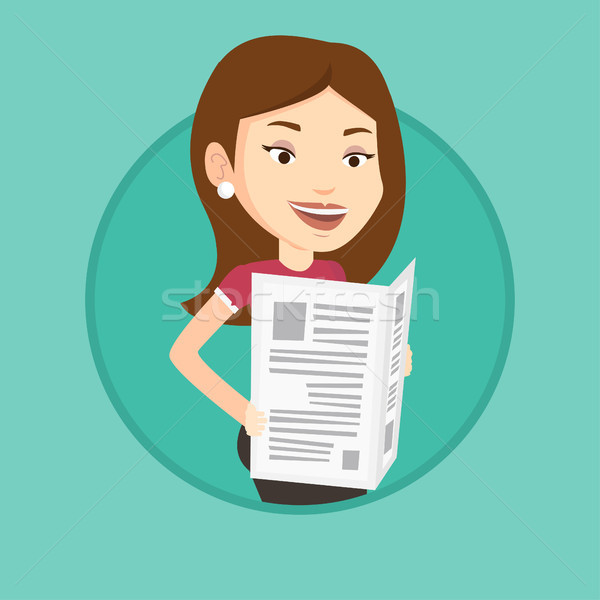 Woman reading newspaper vector illustration. Stock photo © RAStudio