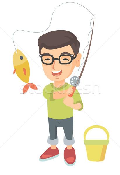 Сток-фото: мало · мальчика · удочка · рыбы · крюк