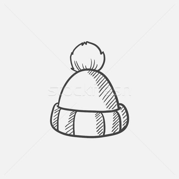 Knitted hat sketch icon. Stock photo © RAStudio