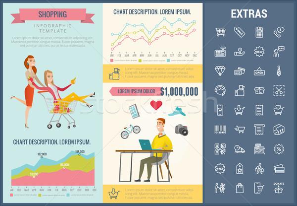 Compras infografía plantilla elementos iconos personalizable Foto stock © RAStudio