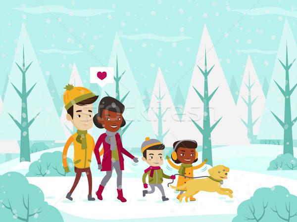 Familie lopen winter bos jonge Stockfoto © RAStudio