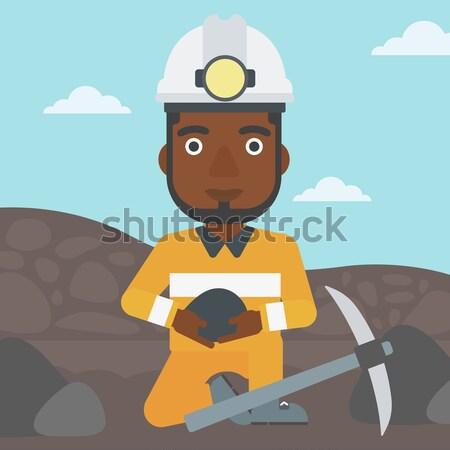 石炭 手 女性 ヘルメット 座って ストックフォト © RAStudio