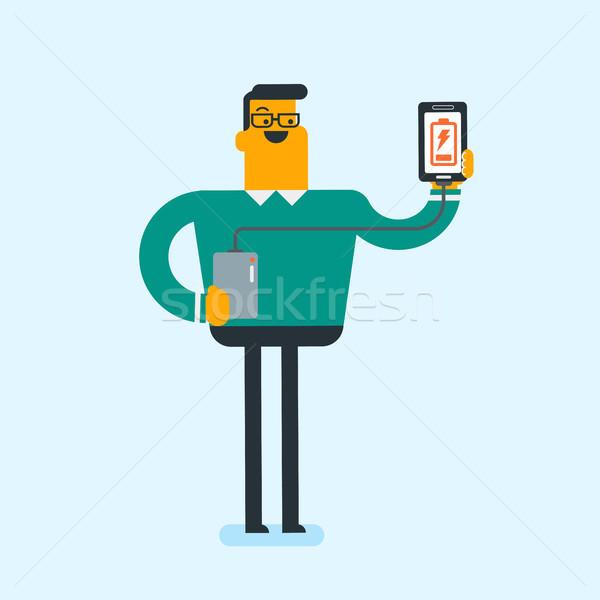 Stockfoto: Man · smartphone · draagbaar · batterij · jonge · kaukasisch