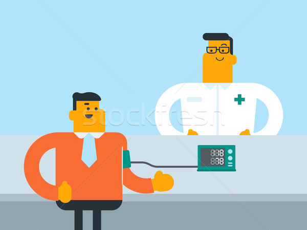 Young caucasain white man checking blood pressure. Stock photo © RAStudio