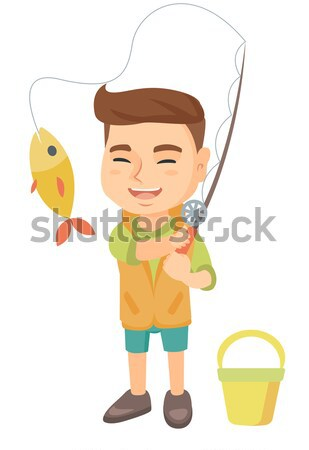 Caucasian boy in shorts holding pail and shovel. Stock photo © RAStudio