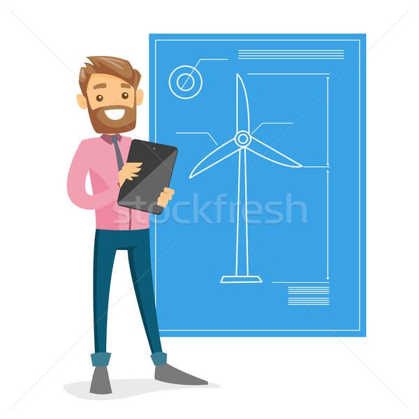 ストックフォト: 白人 · 白 · エンジニア · 風力タービン · プロジェクト · タブレット